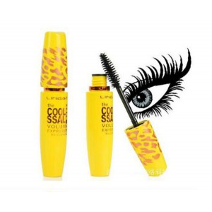 LING MEI Thick Lash Curl Long Lasting BLACK MASCARA in Leopard Print Yellow Package