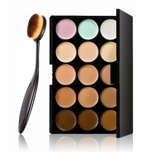 LyDia 15 Colours Cream Concealer Contour Palette #1 + Toothbrush Shaped Makeup Brush
