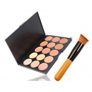 LyDia 15 Colours Concealer Contour Palette #2 + Flat Angled Wooden Buffer Brush