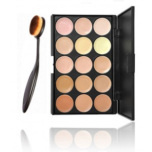 LyDia 15 Colours Cream Concealer Contour Palette #2 + Toothbrush Shaped Makeup Brush