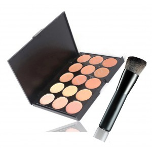 LyDia 15 Colours Concealer Contour Palette #2 + Black Angled Buffer Brush