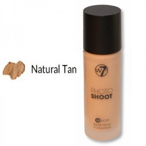 W7 Photo Shoot 16 Hour Budge Proof Glass Bottle Foundation 28ml -- Natural Tan