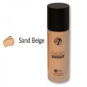 W7 Photo Shoot 16 Hour Budge Proof Glass Bottle Foundation 28ml -- Sand Beige