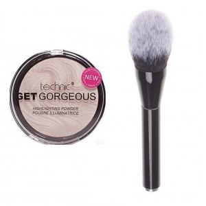 Technic Get Gorgeous Highlighting Powder + LyDia Large Black Fluffy Flawless Face Makeup Brush