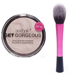 Technic Get Gorgeous Highlighting Powder + LyDia Pink Fluffy Flawless Face Makeup Brush