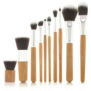 LyDia 10pcs Eco-Friendly Bamboo Handle Makeup Brush Set