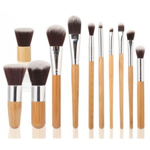 LyDia 11pcs Eco-Friendly Bamboo Handle Makeup Brush Set