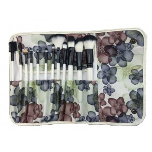 LyDia 12pcs Blue/Brown In Bloom Makeup Brush Set