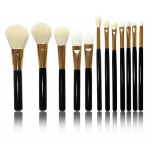 LyDia 12pcs Black-Gold Makeup Brush Set