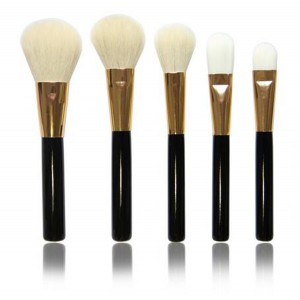 LyDia 5pcs Black-Gold Face Makeup Brush Set