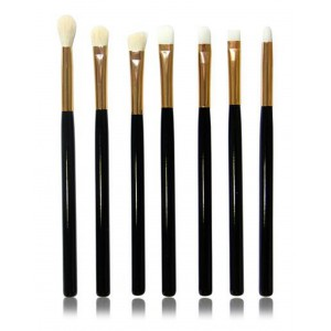 LyDia 7pcs Black-Gold Eye Makeup Brush Set