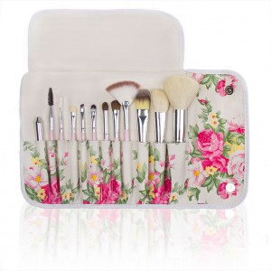 LyDia 12pcs English Pink Rose Makeup Brush Set