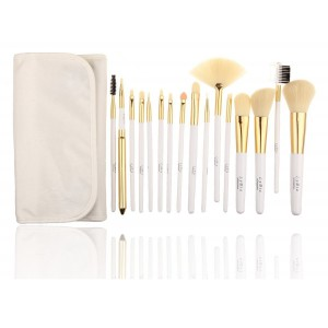 LyDia 16pcs White-Gold Makeup Brush Set