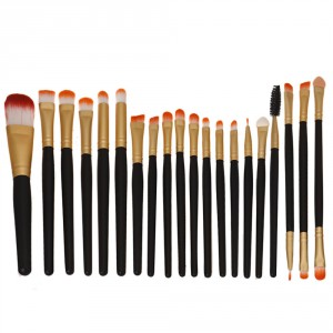 LyDia 20pcs Black-Gold Eye Brush Set