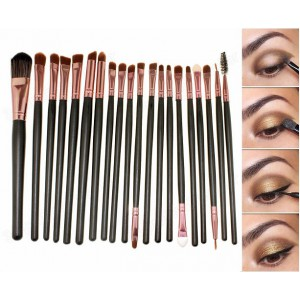 LyDia 20pcs Rose-Gold Eye Brush Set