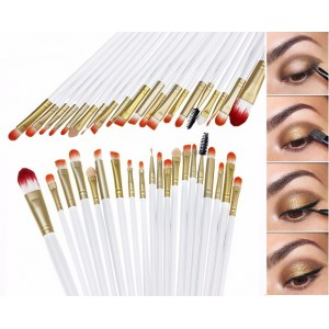 LyDia 20pcs White-Gold Eye Brush Set