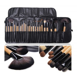 LyDia 24pcs Eco-Friendly Wooden Makeup Brush Set
