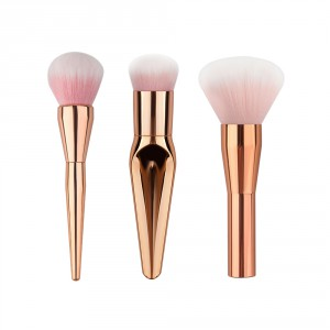 LyDia 3pcs Large Rose-Gold Kabuki Makeup Brush Set