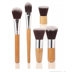 LyDia 5pcs Eco-Friendly Bamboo Handle Makeup Brush Set