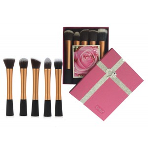 LyDia 5pcs Gold Brush Set with Hot Pink Gift Box