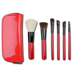 Lydia 6pcs Red Studio Collection Mini Makeup Brush Set
