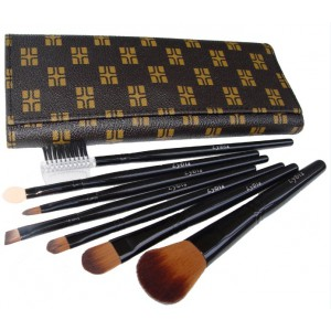 LyDia 7pcs Brown/Black Makeup Brush Set