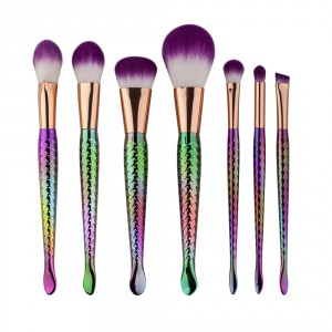 LyDia 7pcs Mermaid Purple Hair Makeup Brush Set
