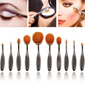 LyDia 10pcs Oval Toothbrush Shape Black Makeup Brush Set