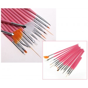 LyDia 15pcs Nail Art Acrylic Painting Brush Set - Orange Pink
