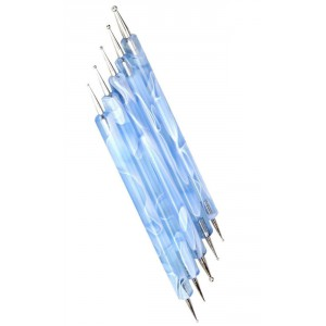 LyDia 5pcs Double-Ended Nail Art Dotting Pen - Blue